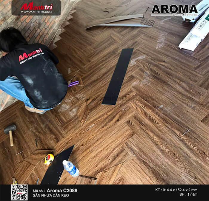 sàn nhựa Aroma C2089 lắp đặt dạng xương cá