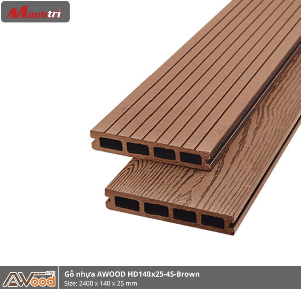 Gỗ nhựa HD 140 x 25 x 2000 Red Brown
