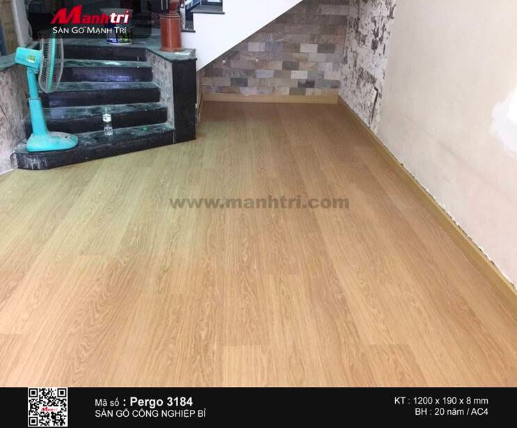 sàn gỗ công nghiệp Pergo 3184 sau khi hoàn thiện