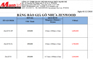Bảng báo giá gỗ nhựa Zenwood
