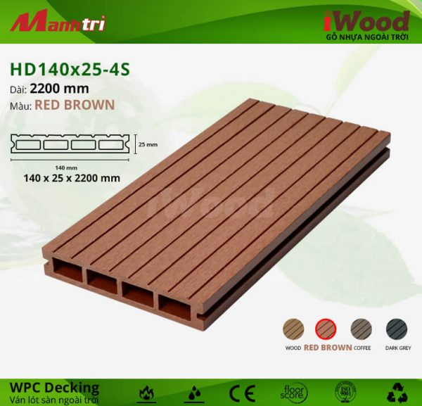 iwood HD140x25-redbrown hình 1