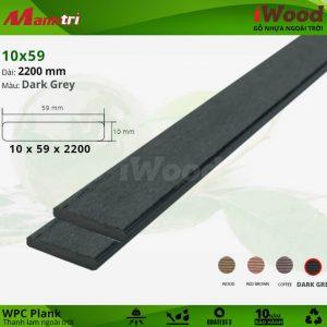 Thanh lam gỗ iWood 10x59-Dark Grey