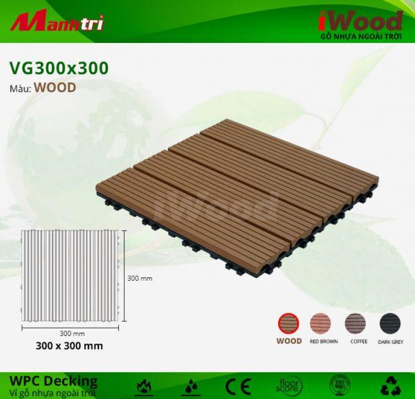 Vỉ Gỗ Nhựa Lót Sàn IWood VG300x300-Wood
