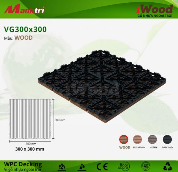 Vỉ gỗ nhựa VG 300 x 300 Wood mẫu d