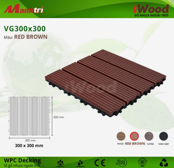 Vỉ gỗ lót sàn iWood VG300x300-Red Brown