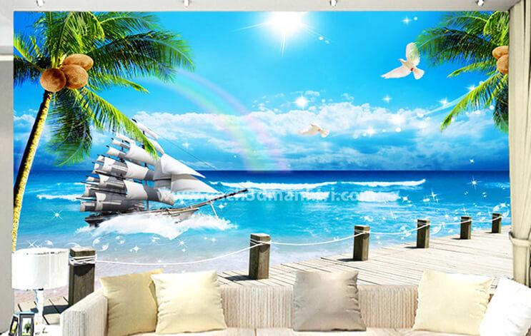 gạch 3D ốp tường phòng khách hình 1