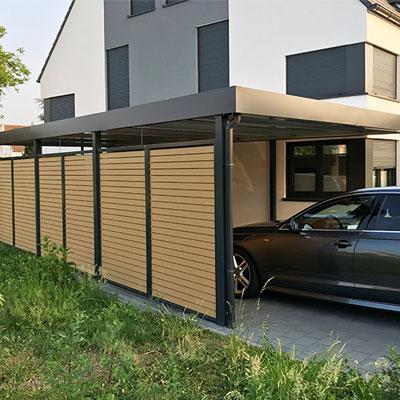 nhà để xe ốp gỗ nhựa iWood