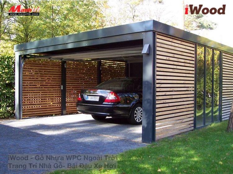 Nhà để xe gỗ nhựa sang trọng và hiện đại.