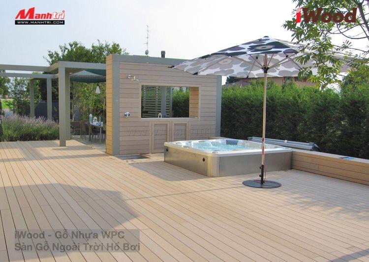 Ngoài lát sàn hồ bơi, iWood còn có ứng dụng ốp trần, tường không gian ngoại thất.