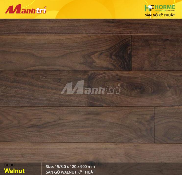 Sàn gỗ Óc chó với màu socola nhẹ nhàng, phù hợp lắp đặt trong mọi không gian nội thất.
