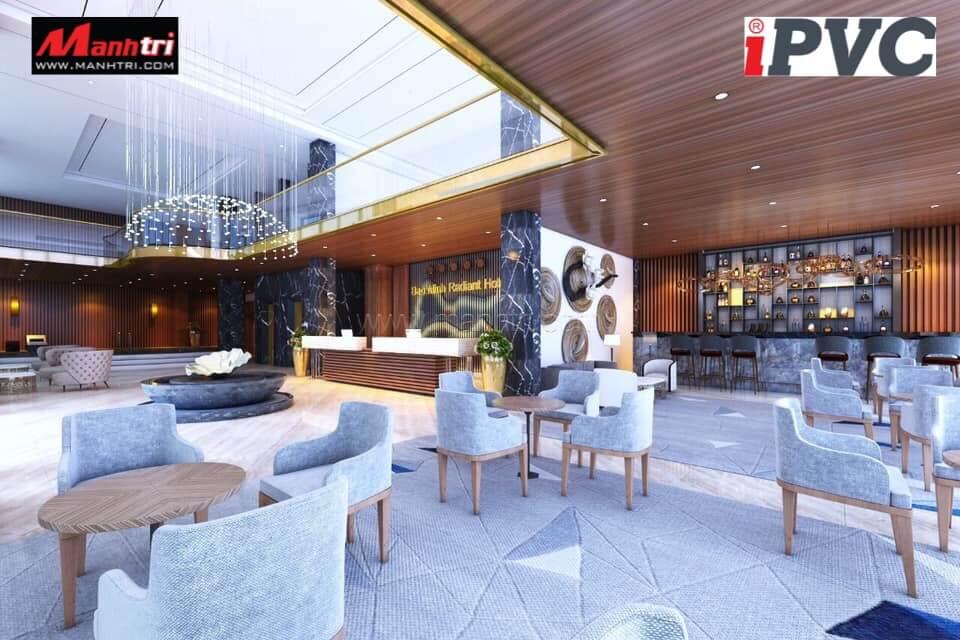Tấm nhựa PVC được lựa chọn lắp đặt cho các không gian nhà hàng, khách sạn.