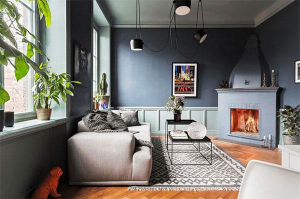 Sự kết hợp giữa lò sưởi, thảm, hoa văn, cây xanh mang phong cách nhẹ nhạng