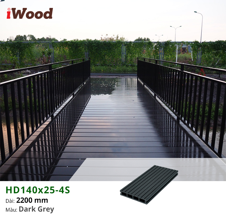 Hình ảnh gỗ nhựa lót sàn ngoài trời HD140x25-4S màu Dark Grey