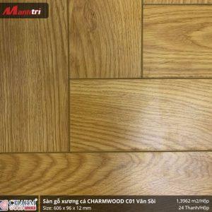 sàn gỗ xương cá Charmwood vân sồi h2