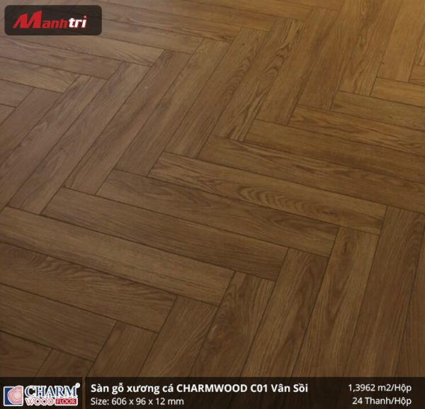 sàn gỗ xương cá Charmwood vân sồi