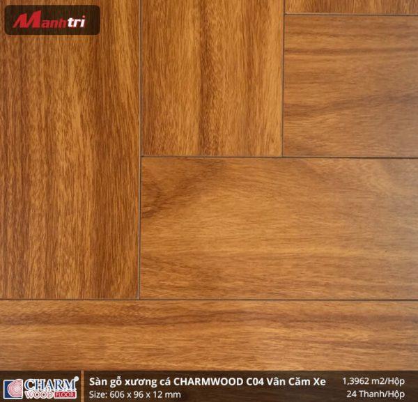 Sàn gỗ xương cá Charmwood C02 vân căm xe hình 2