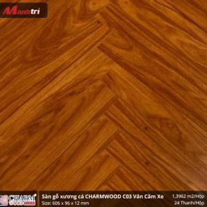Sàn gỗ xương cá Charmwood C02 vân căm xe hình 3