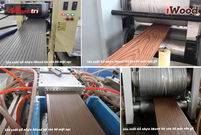 dây chuyền sản  xuất gỗ nhựa iwood lót sàn