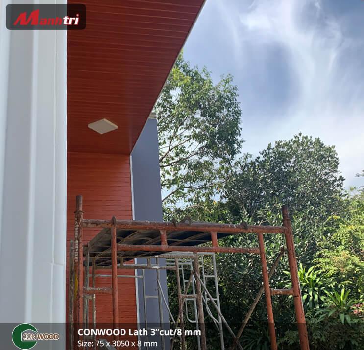 Thi công gỗ Conwood ốp trần, tường Lath 3″Cut/ 8mm tại Nhơn Trạch