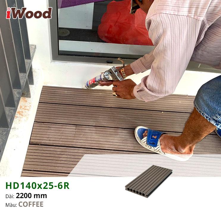Hình ảnh thi công sàn gỗ nhựa HD140x25-6R Coffee
