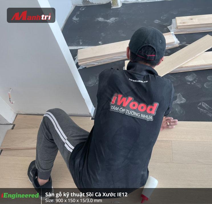 Thi công Sàn gỗ kỹ thuật Sồi Cà Xước IE12 tại quận 2