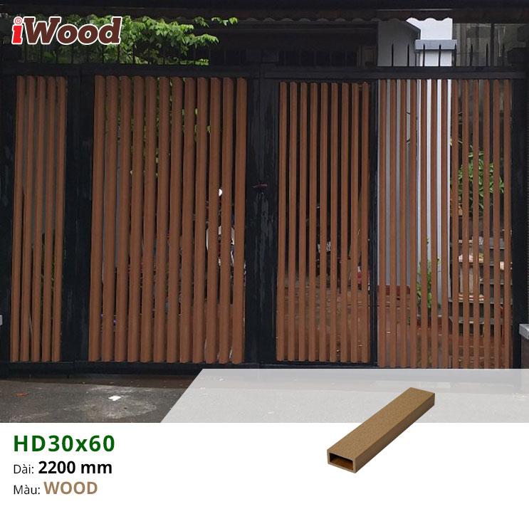 Thi công lam cổng ngoài trời HD30x60-Wood tại Bình Thạnh